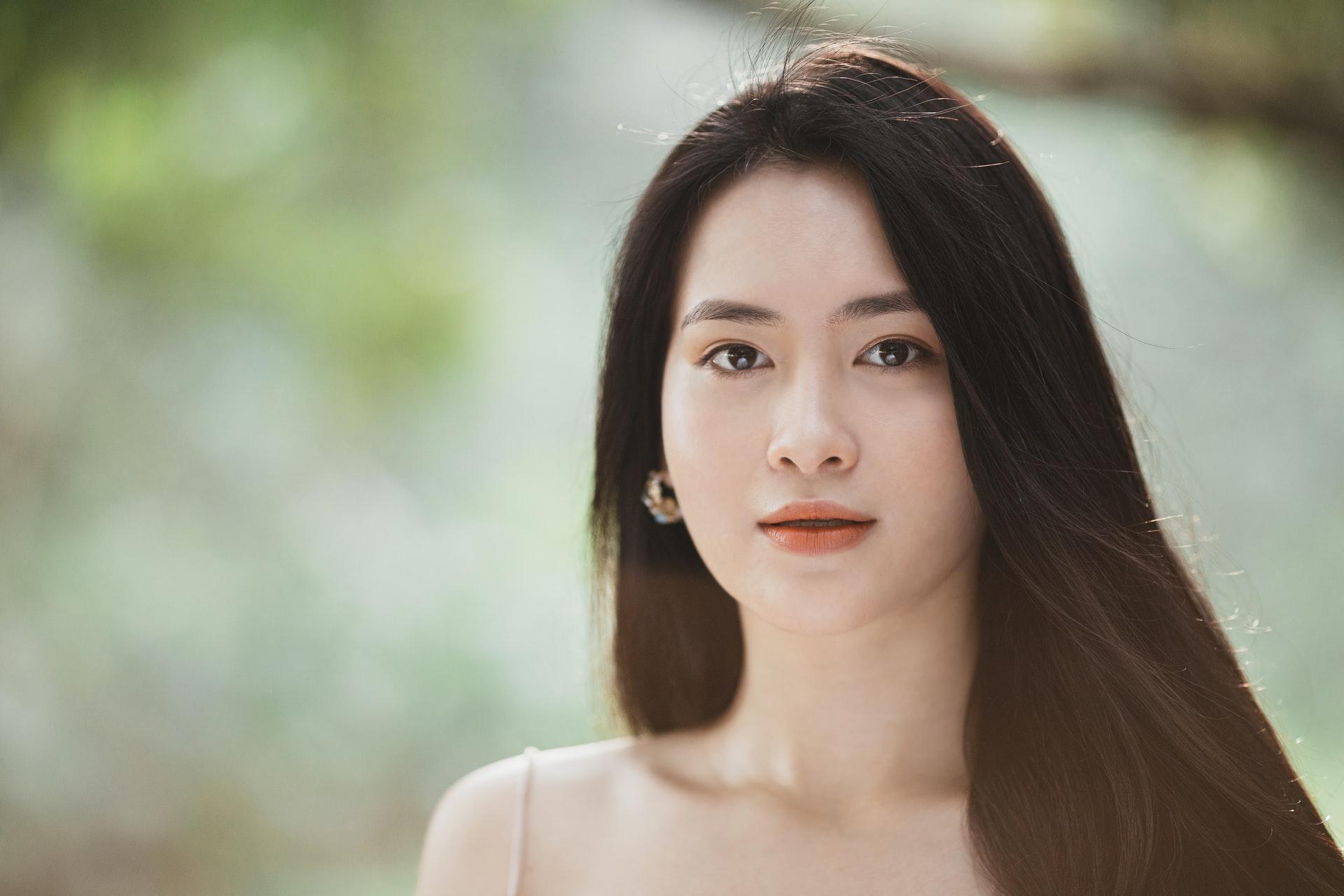 Japanese girl with long beautiful hair
